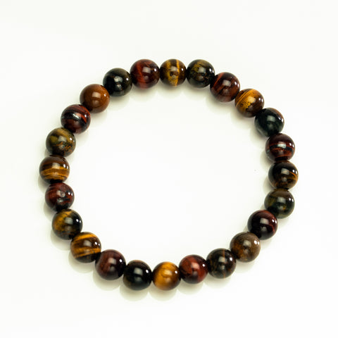 Tri-color Tiger Eye 8mm Beaded Stretch Bracelet