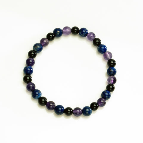 Amethyst with Lapis and Black Tourmaline 6mm Beaded Stretch Bracelet