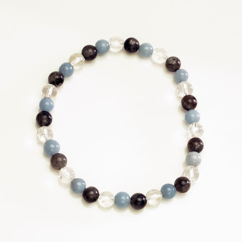 Larvankite with Angelite and Clear Quartz 6mm Beaded Stretch Bracelet
