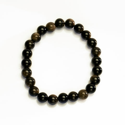 Gold Sheen Obsidian 8mm Beaded Stretch Bracelet