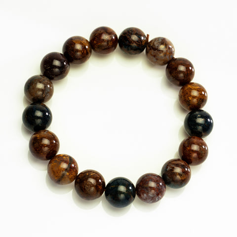 Petrified Wood 12mm Beaded Stretch Bracelet
