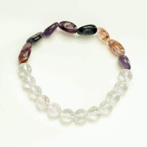 Clear Quartz with Purple Rultilated 8mm Beaded Stretch Bracelet