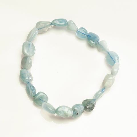 Aquamarine 8mm Nugget Beaded Stretch Bracelet