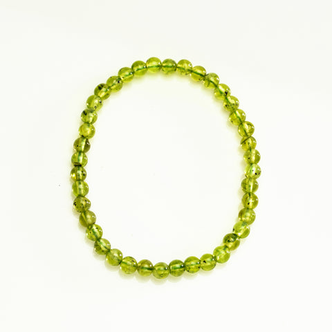Peridot 3mm Beaded Stretch Bracelet