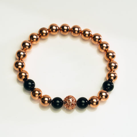 Copper with Black Toumaline 8mm Beaded Stretch Bracelet