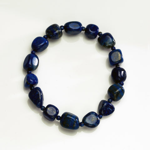 Natural Lapis Nugget Beaded Stretch Bracelet