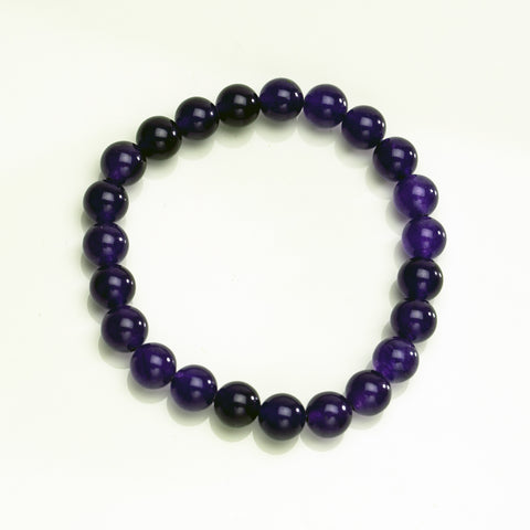 Purple Jade 8mm Beaded Stretch Bracelet