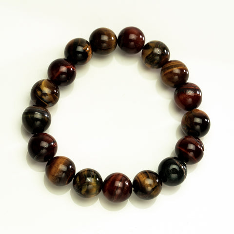 Tri-color Tiger Eye 12mm Beaded Stretch Bracelet