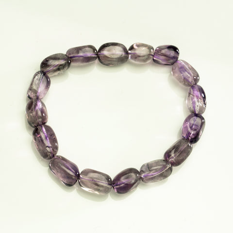 Light Amethyst Nugget Beaded Stretch Bracelet