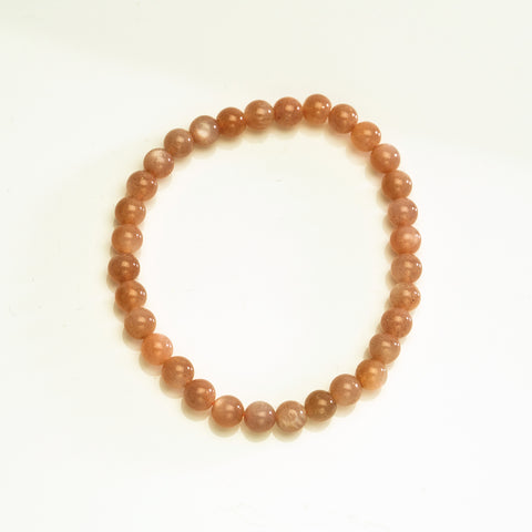 Peach Moonstone 7mm Beaded Stretch Bracelet