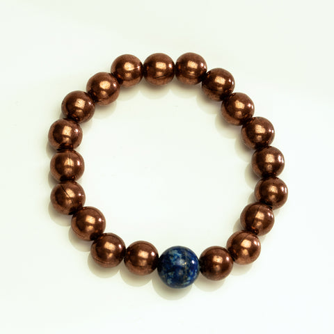 Copper Beads with Lapis 10mm Beaded Stretch Bracelet