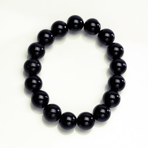 Black Toumaline 12mm Beaded Stretch Bracelet