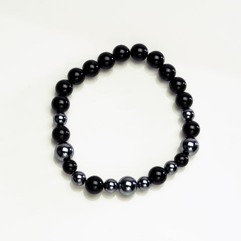 Black Toumaline with Terahertz 8mm Beaded Stretch Bracelet
