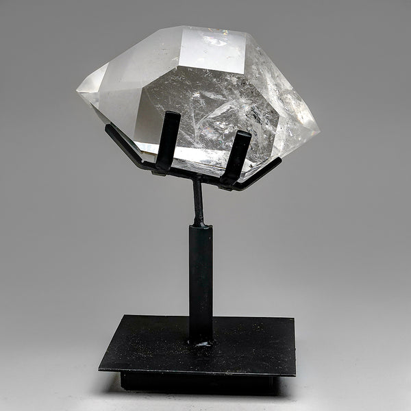 Polished Quartz Crystal on Metal Stand from Brazil (4.5 lb)