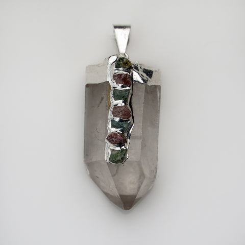 Clear Quartz Crystal Pendant with 7 Chakra Stone