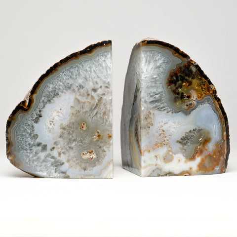 Natural Banded Agate Bookends from Brazil (3 lbs)