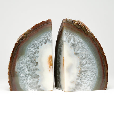 White Banded Agate Bookends from Brazil (2.5 lbs)