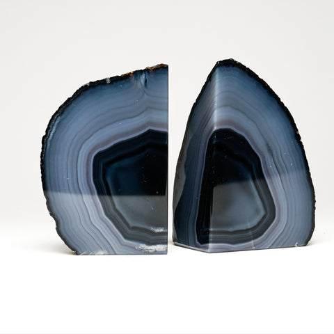 Navy Blue Banded Agate Bookends from Brazil (2 lbs)