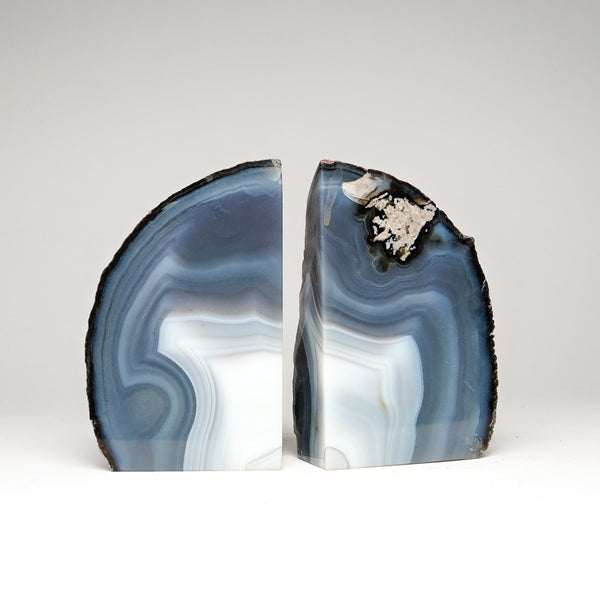 Blue and White Banded Agate Bookends from Brazil (2.5 lbs)
