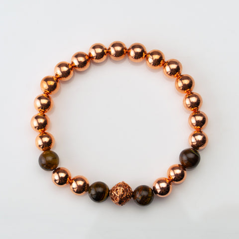 Tiger Eye with Copper 8mm Beaded Stretch Bracelet