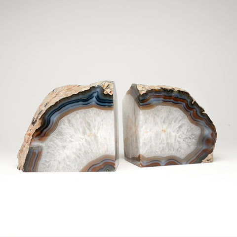 White with Natural Banded Agate Bookends from Brazil (9 lbs)