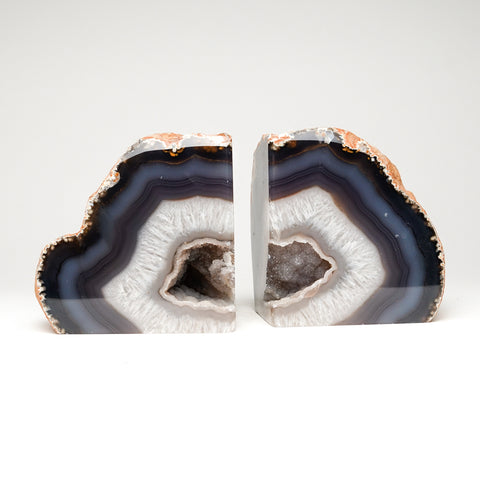 Blue with White Banded Agate Geode Bookends from Brazil (7.5 lbs)