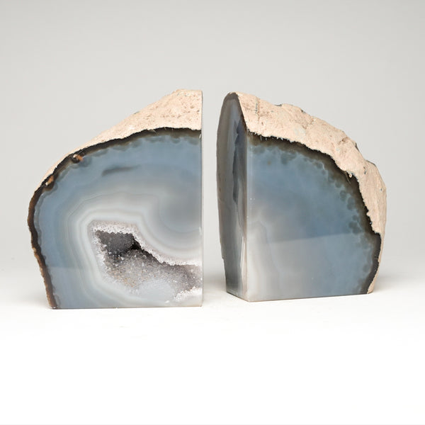 Natural Banded Agate Geode Bookends from Brazil (5.5 lbs)