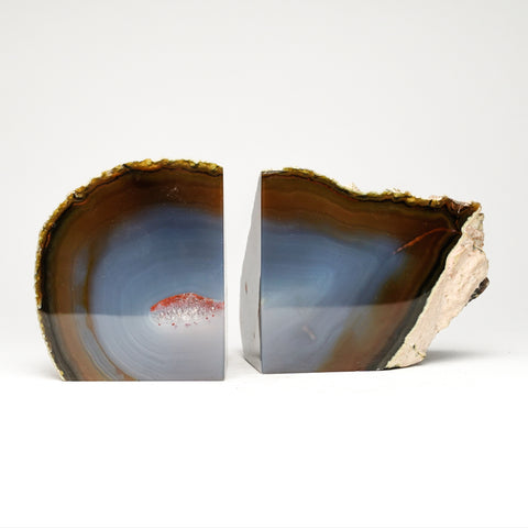 Brown with Blue Banded Agate Bookends from Brazil (4 lbs)