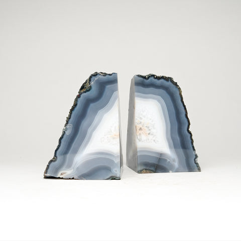 Blue with White Banded Agate Bookends from Brazil (4.5 lbs)