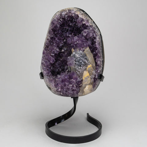 Amethyst Cluster with Calcite on Stand from Brazil (7.5 lbs)
