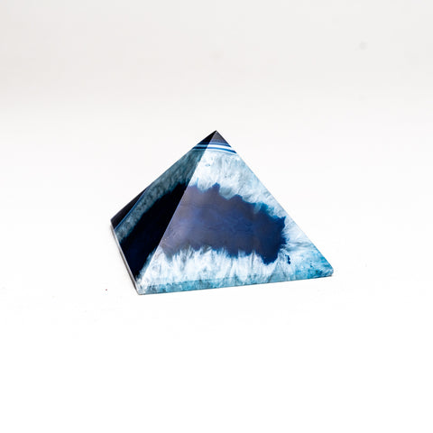Blue Agate Pyramid from Brazil (204.2 grams)