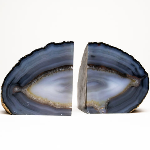 Navy Blue Banded Agate Bookends from Brazil (1.6 lbs)