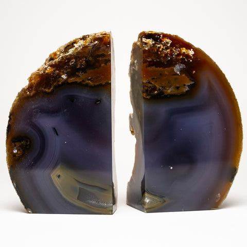 Brown and Blue Banded Agate Bookends from Brazil (3.5 lbs)