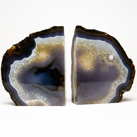 Natural with White and Blue Banded Agate Bookends from Brazil (2 lbs)