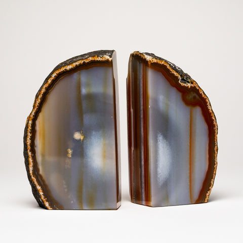 Natural Banded Agate Bookends from Brazil (1.5 lbs)