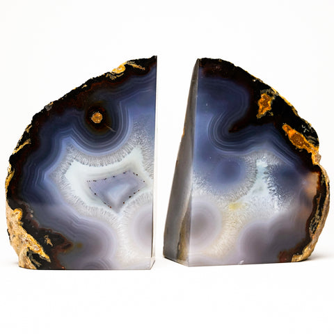 Blue and White Banded Agate Bookends from Brazil (2 lbs)