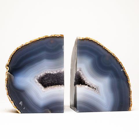 Blue and White Banded Geode Bookends from Brazil (4 lbs)