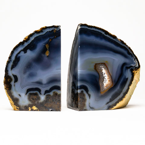 Dark and Light Blue Banded Agate Bookends from Brazil (2 lbs)