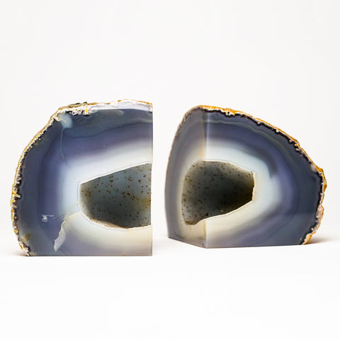 Blue and White Banded Agate Bookends from Brazil (4 lbs)