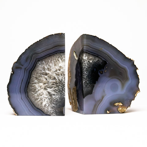 Blue Banded Agate Bookends from Brazil (3 lbs)