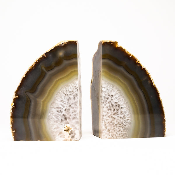 White and Green Banded Agate Bookends from Brazil (4.5 lbs)