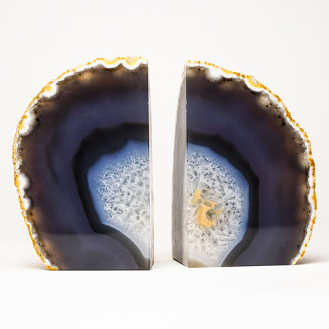 Dark Blue and White Banded Agate Bookends from Brazil (2.5 lbs)