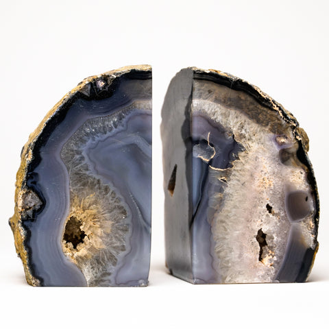 Blue and White Banded Agate Bookends from Brazil (3.5 lbs)