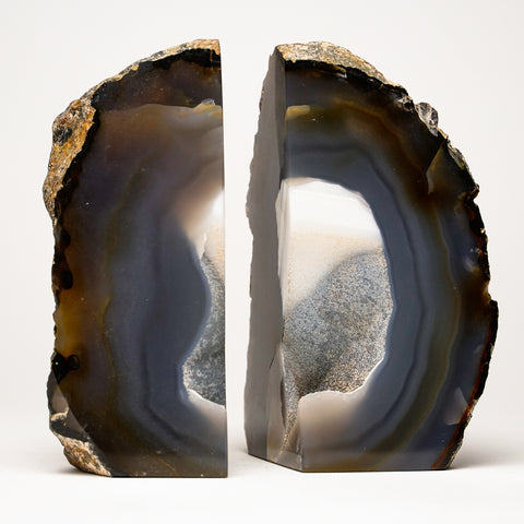 Brown and Light Blue Banded Agate Bookends from Brazil (3.5 lbs)
