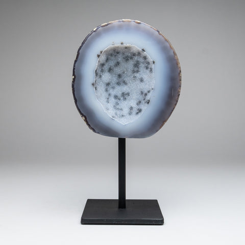 "Blue Banded Agate Geode on Metal Stand From Brazil (10"", 3.5 lbs)"
