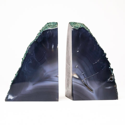 Dark Blue Banded Agate Bookends from Brazil (3.5 lbs)