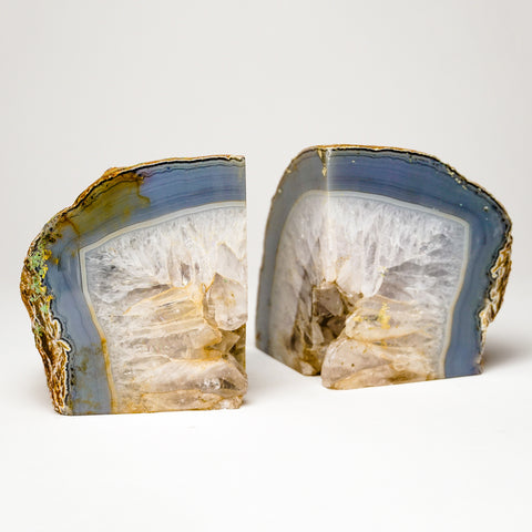 Blue and White Banded Agate Bookends from Brazil (5.5 lbs)