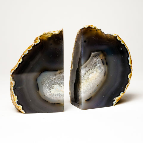Brown and White Banded Agate Bookends from Brazil (2 lbs)