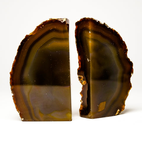 Brown Banded Agate Bookends from Brazil (2 lbs)