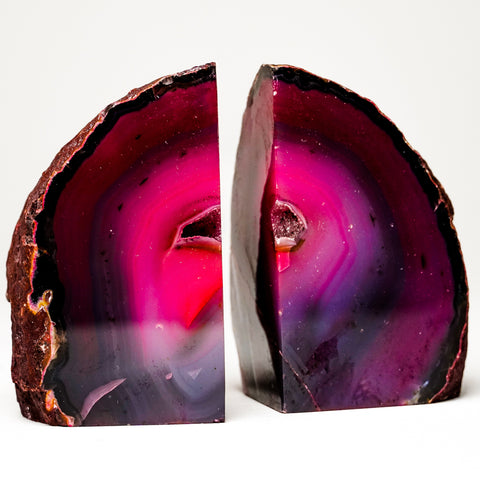 Fuchsia Banded Agate Bookends from Brazil (2 lbs)